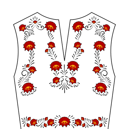 Neck Flower Embroidery Pattern Vector Traditional Folk Craft