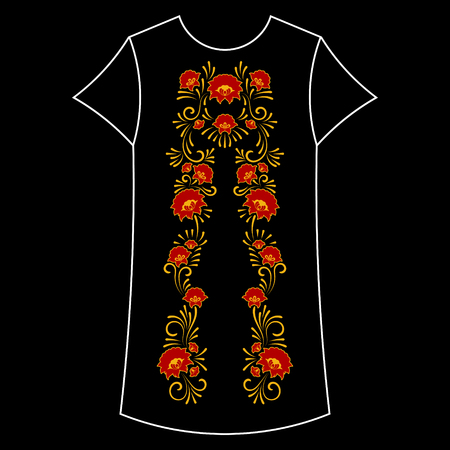 Neck flower embroidery pattern vector. Traditional folk craft floral print print isolated. Ethnic textile patch design for fashion woman dress, tunic, t-shirt, top, blouse, jacket, sweatshirt.