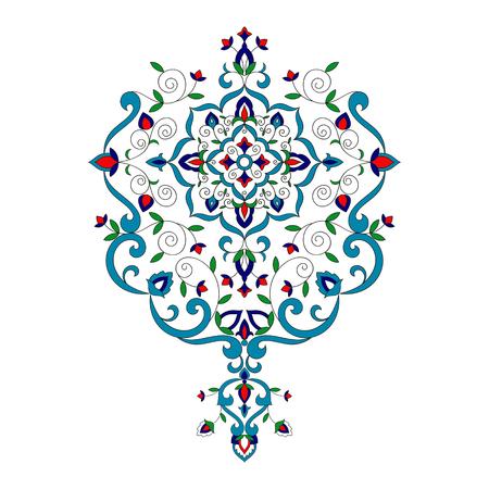 Islam floral pattern vector. Turkish porcelain ornament with flowers motifs. Arabic design element for Ramadan Kareem, Eid Mubarak card, luxury wedding invitation, bridal shower, save the date.