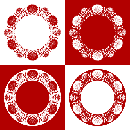 Set of red Russian ornament pattern frames vector. Traditional floral embroidery round border elements. Design for emblem, icon, label, badge, tag, photo album overlay and folk souvenir. Illustration