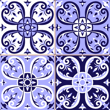 Set of 4 Portuguese tiles pattern vector with blue and white ornaments. Portugal azulejo, Mexican talavera, delft dutch, Italian or Spanish motifs.