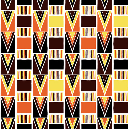 African tribal pattern vector seamless. Ethnic Africa fabric print with abstract geometric elements. Bohemian background for boho home textile, rug, pillow, blanket, gypsy poster, wrapping paper.