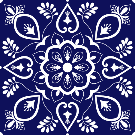 Tile ornaments pattern vector with blue and white floral motifs. Portuguese azulejo, Mexican talavera, Spanish, Italian majolica, delft dutch or moroccan texture for bathroom wall or kitchen flooring.