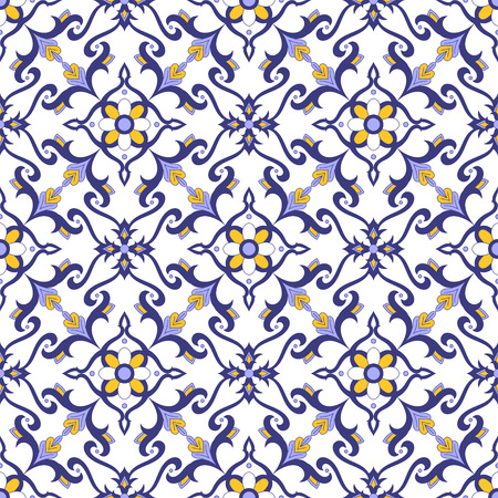 Mexican tile pattern vector with blue, yellow and white ornaments. Portuguese azulejos, talavera, delft dutch, spanish or italian majolica motifs. Tiled background for wallpaper, ceramic or fabric. Vettoriali