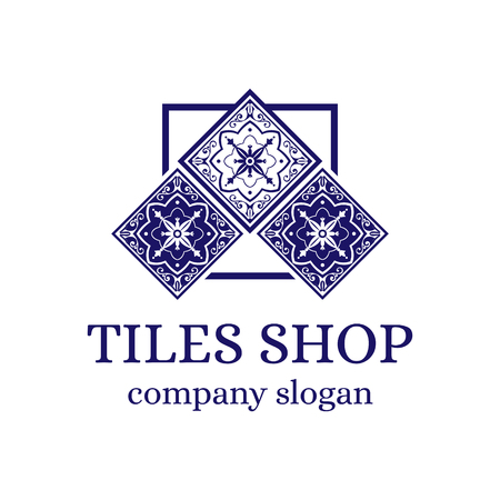 Tiles shop logo template design vector. Branding identity emblem with ceramic ornament for Spanish majolica store. Vettoriali