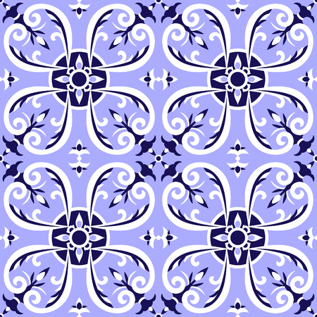 Italian tiles pattern vector with blue and white ornaments. Portugal azulejo, mexican talavera, delft dutch or spanish majolica motifs. Tiled floor background for ceramic or fabric design. Illustration