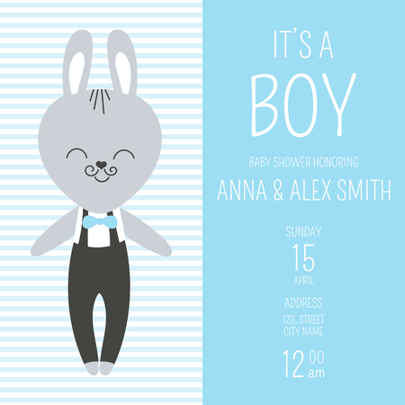 Cute baby shower boy invite card vector template. Cartoon animal illustration. Design with little bunny in pants with suspenders and bow tie. Kids newborn poster or birthday party background. Illustration