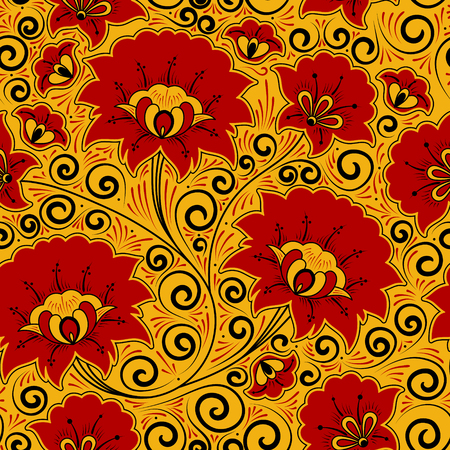 Russian khokhloma pattern seamless vector. Traditional embroidery flower ornament. Ethnic luxury floral background for fabric, wallpaper, souvenir card, home textile and painting folk craft design.