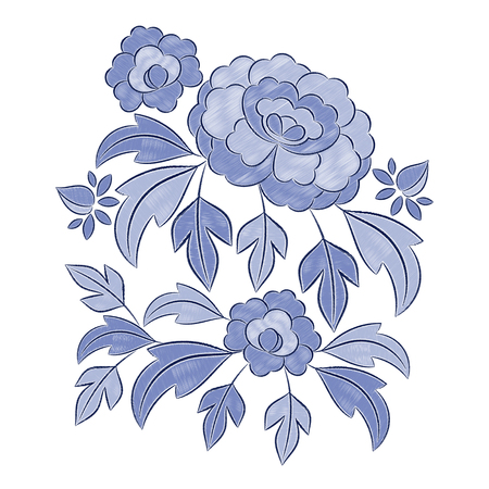 Vintage floral embroidery pattern vector. Blue retro peony flower ornament stitch print isolated. Bohemian textile patch design for bedlinen, tablecloth or napkins, pillow case, fashion clothing.