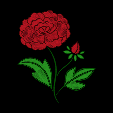Vintage floral embroidery pattern vector. Red peony flower ornament stitch print isolated on black background.