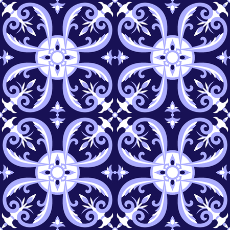 Mexican tiles pattern vector with blue and white ornaments. Portugal azulejo, talavera, delft dutch, italian majolica or spanish motifs. Tiled floor background for ceramic or fabric design.