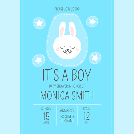 Cute baby shower boy invite card vector template. Cartoon animal It's a boy illustration. Blue design with little bunny and stars patches. Kids newborn poster or birthday party invitation background. Illustration
