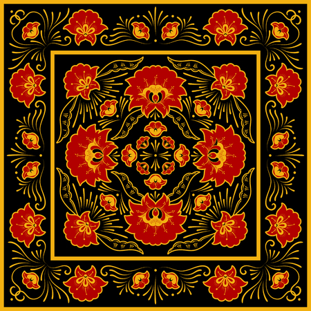 Crafted folk floral pattern vector. Square scarf design. Flower silk batik print. Template for russian shawl, ornament jewelry box, ethnic tablecloth textile, persian rug, vintage medallion.