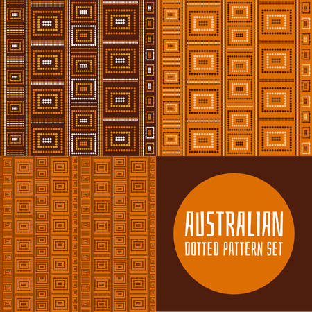 Set of 3 australian tribes dotted pattern vector seamless. Aboriginal art design print with dot lines. Tribal ornament for fabric, wrapping paper or cards template. Vectores