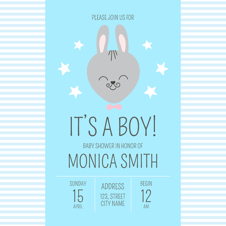 Cute baby shower boy invite card vector template. Cartoon animal It's a boy illustration. Blue design with little bunny and stars. Kids newborn poster or birthday party invitation background. Illustration