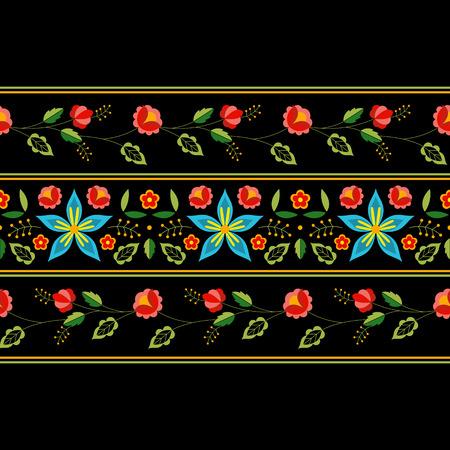 Polish folk pattern vector. Floral ethnic ornament. Slavic eastern european print. Border flower design for gypsy pillow case, bohemian interior textile, blanket, mexican tablecloth embroidery.