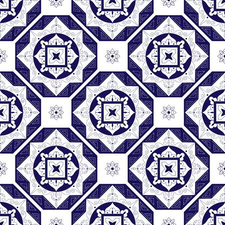 Tile pattern from diagonal dark blue and white ornaments Illustration