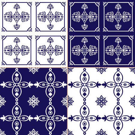 Collection ornamental tile pattern vector blue and white color. Portuguese azulejo, spanish, moroccan, mexican, turkish or dutch tiles design with flowers motifs