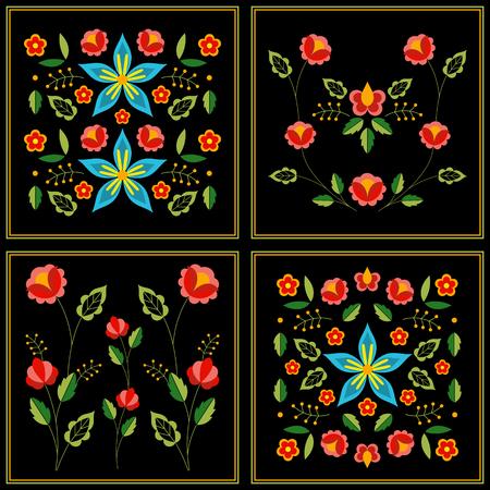 Polish folk pattern vector. Floral ethnic ornament. Slavic eastern european print. Patchwork flower design for bohemian blanket, gypsy interior textile, boho pillow case, fashion embroidery.