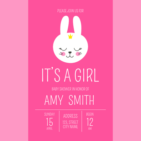 Cute baby shower girl invite card vector template. Cartoon animal illustration. Pink little princess design with funny bunny and crowns. Kids newborn poster or birthday party invitation background. Illustration