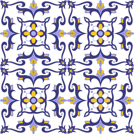 Portuguese tile pattern vector seamless with flowers motifs. Italian, portugal azulejo, mexican talavera, moroccan, spanish majolica design. Moorish tiled print for tablecloth, background or ceramic. Ilustração