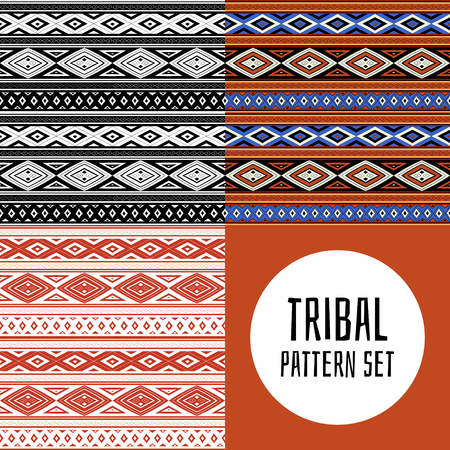 Set of tribal pattern vector seamless. Native American, Aztec, Mexican indian, African or Peruvian Inca print. Ethnics Peru background for fabric, wallpaper, wrapping paper and card template. Vectores
