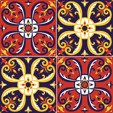 Tile pattern vector seamless with Moorish motifs. Portuguese azulejos, mexican talavera, spanish, sicily italian majolica or moroccan arabic design. Floor tiles print wall ceramic or fabric.