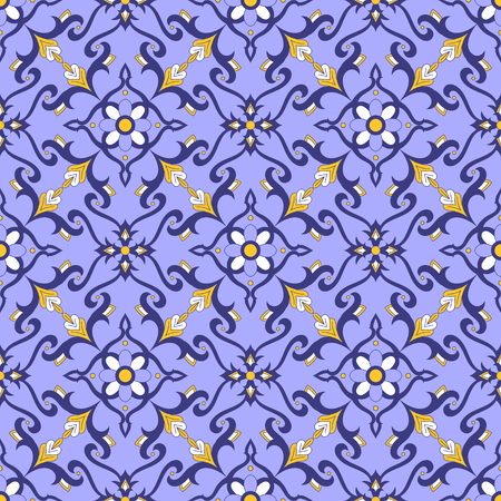 Portuguese tile pattern vector with blue, yellow and white ornaments. Portugal azulejos, mexican talavera, spanish or italian majolica motifs. Tiled background for wallpaper, ceramic or fabric.