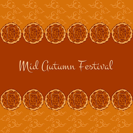 Mid Autumn Festival vector (Chuseok). Festive sweet bakery illustration with moon cakes and oriental clouds pattern. Design for background, greeting card, banner, flyer or wallpaper.