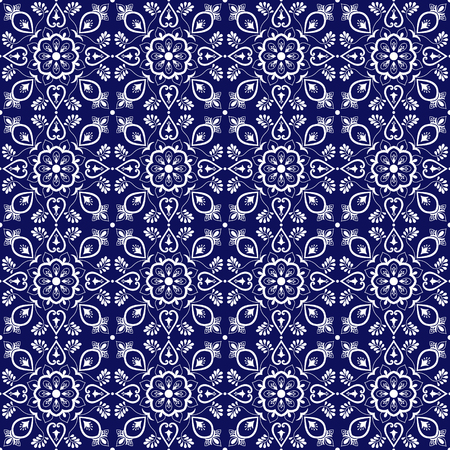 Delft dutch tile pattern vector seamless with blue and white ornaments. Portuguese azulejo, mexican talavera, spanish or italian majolica. Tiled texture background for wallpaper or flooring ceramic. 일러스트