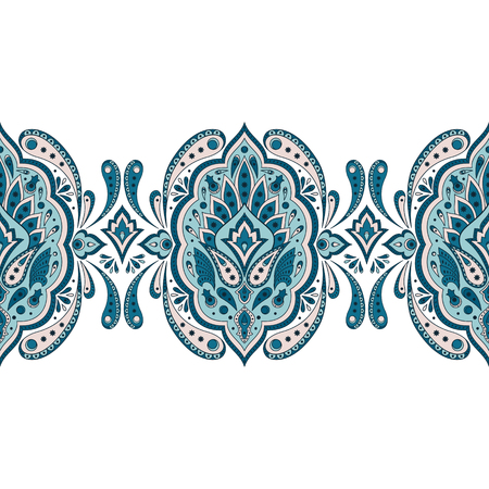 Floral indian paisley pattern vector seamless border. Vintage flower ethnic ornament. Oriental folk design for wedding card, persian rug, gypsy embroidery clothing, bedroom textile lace, medallion.