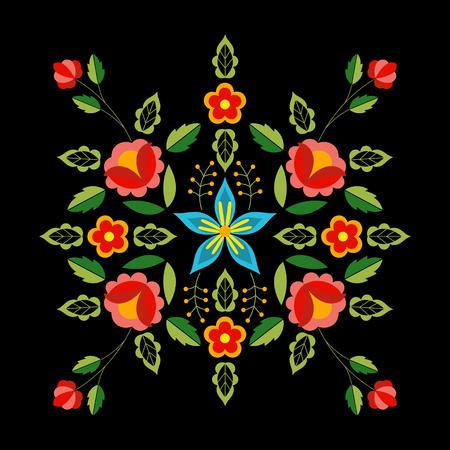 Polish folk pattern vector. Floral ethnic ornament. Slavic eastern european print. Square flower design for gypsy pillow case textile, bohemian silk scarf bandana, fashion embroidery, boho poster.