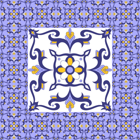 Portuguese tiles floor. Floral pattern vector with ceramic print. Big tile in center is framed. Background with azulejo, mexican talavera, spanish, italian majolica, moroccan, arabic motifs.