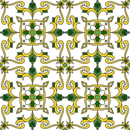 Piastrelle portoghesi vettore di pattern senza soluzione di continuità con ornamenti floreali. Azulejos, talavera messicana, maioliche spagnole, italiane o arabe marocchine. Sfondo piastrellato per carta da parati, ceramica o tessuto.