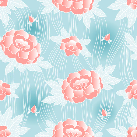 Peony japanese pattern seamless vector. Oriental floral background. Vintage pastel flowers print for kimono fabric, woman negligee bathrobe and nightgown, fashion asian textile, house wallpaper.