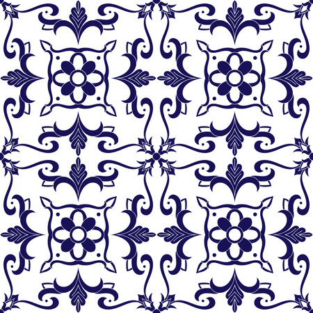 Mexican tile pattern vector with blue and white ornaments. Portuguese azulejo, talavera, spanish, italian majolica, delft dutch or moroccan motifs. Tiled background for wallpaper, ceramic or fabric.