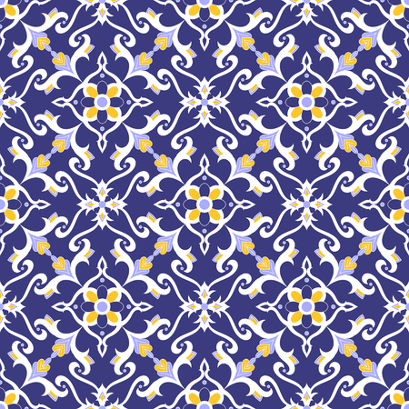 Spanish tile pattern vector with blue, yellow and white ornaments. Portuguese azulejos, mexican talavera, delft dutch, italian majolica motifs. Tiled background for wallpaper, ceramic or fabric.