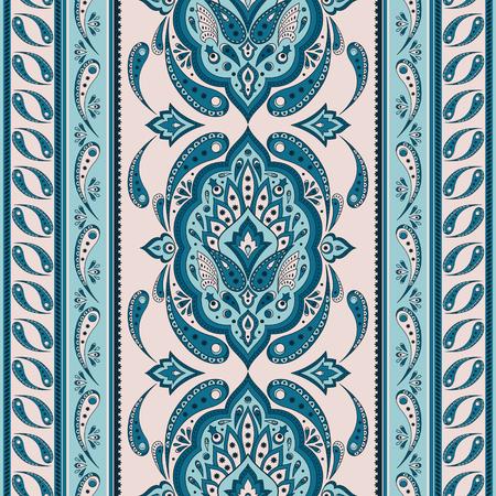 Floral indian paisley pattern vector seamless border. Vintage flower ethnic ornament for batik scarf bandana print fabric. Oriental folk design for persian rug, woman shawl textile, blanket, clothing.