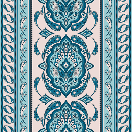 Floral indian paisley pattern vector seamless border. Vintage flower ethnic ornament for batik scarf bandana print fabric. Oriental folk design for persian rug, woman shawl textile, blanket, clothing.