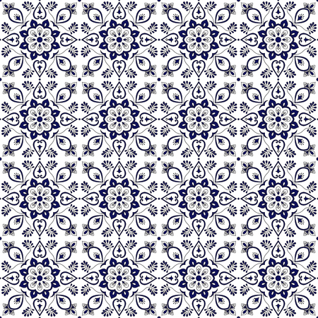 Tile pattern vector with blue and white flower ornaments. Portuguese azulejo, mexican talavera, spanish, italian majolica or delft dutch motifs. Tiled background for wallpaper or bathroom ceramic.
