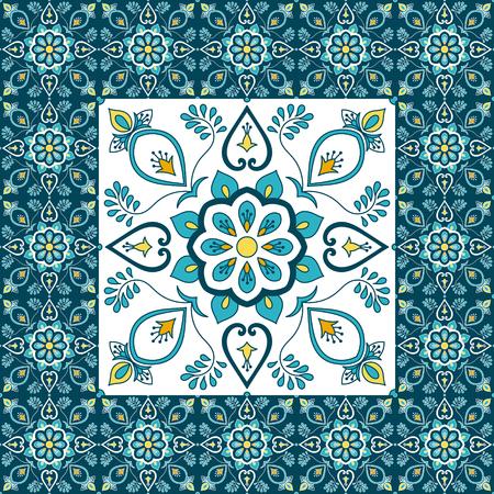Portugalski wzór płytki podłogowej wektor z nadrukiem ceramicznym. Duży element pośrodku jest oprawiony. Tło z portugalską azulejo, meksykańską talavera, hiszpańską, włoską majoliką, marokańskimi motywami.