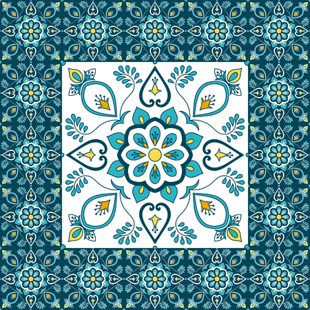 Portuguese tile pattern floor vector with ceramic print. Big element in center is framed. Background with portugal azulejo, mexican talavera, spanish, italian majolica, moroccan motifs.