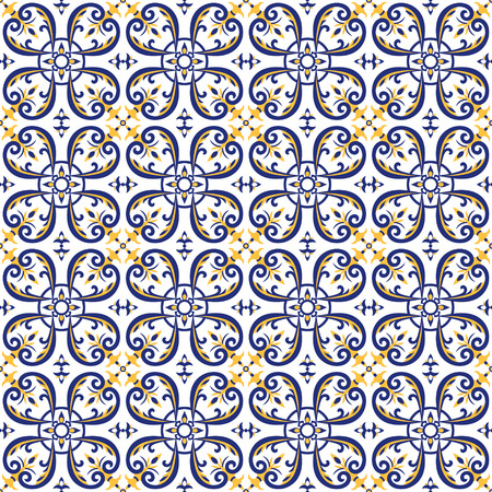 Mexican tiles pattern vector with blue, yellow and white ornaments. Portuguese azulejos, talavera, italian majolica or spanish motifs. Flooring print for ceramic wall or tablecloth fabric design. Vettoriali