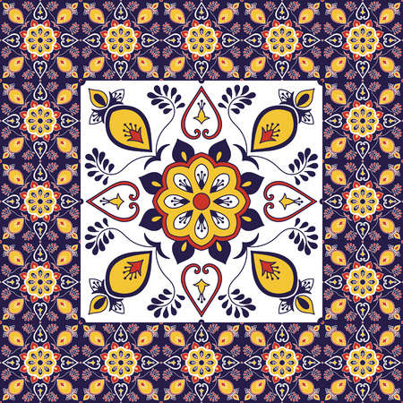 Portuguese tile pattern vector with ornament ceramic texture. Big element in center is framed. Background with porcelain azulejo, mexican talavera, spanish, italian majolica, moroccan motifs.  イラスト・ベクター素材