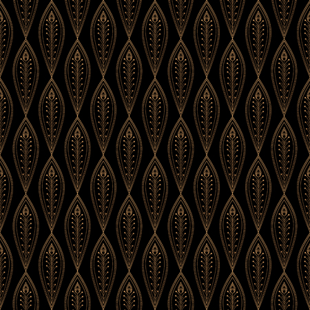 Luxury background vector. Peacock feathers royal pattern seamless. Gold black design for yoga wallpaper, beauty spa salon, art deco wedding party invitation, holiday christmas and new year card. Banco de Imagens - 105201716
