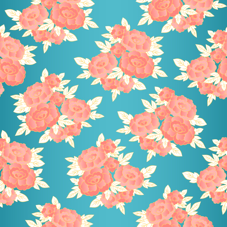 Peony japanese pattern seamless vector. Oriental floral background. Pink vintage flowers print for kimono fabric, silk scarf, woman negligee bathrobe textile, paper, interior home wallpaper.
