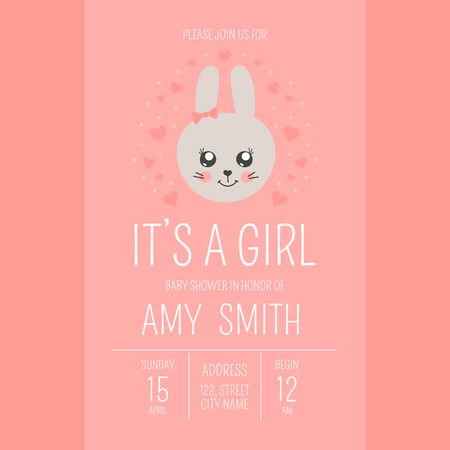 Cute baby shower girl invite card vector template. Cartoon animal illustration. Sweet little princess design with funny bunny and hearts. Kids newborn banner or birthday party invitation background.