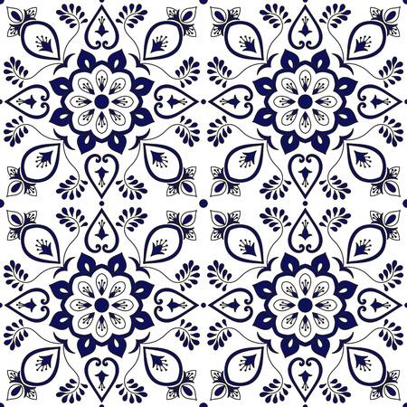 Portuguese tile pattern vector seamless with blue and white ornaments. Spanish azulejo, mexican talavera puebla, italian majolica or delft dutch. Tiled background for wallpaper, ceramic or fabric. Illustration