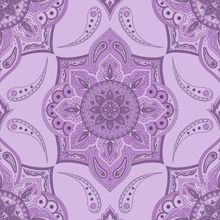 Vector de patrón floral paisley indio transparente. Adorno étnico de flores vintage para tejido de alfombra persa. Diseño popular oriental para textiles de dormitorio bohemio, ropa de cama gitana, ropa boho, papel tapiz de yoga.