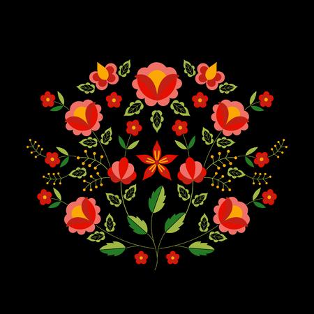 Polish folk pattern vector. Floral ethnic ornament. Slavic eastern european print. Square flower design for bohemian silk scarf, boho pillow case, fashion clothing embroidery, gypsy interior textile.